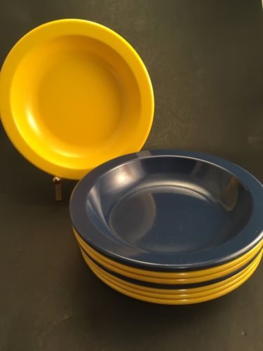 Dallas Ware Set of 8 Texas Ware Bright Yellow & NaVy Blue Soup Melamine Bowls