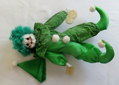 Brinn's Musical Collectible Porcelain Clown Green Hair 14