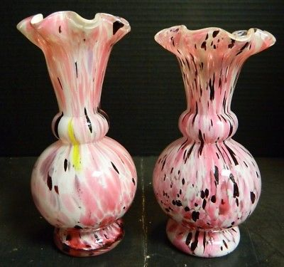 Vintage Set Of (2) Czech. Hand Blown Pink, Black & White Splatter Glass Vases Ex