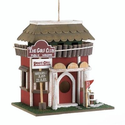 Red Golf Course Clubhouse Wood Birdhouse