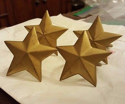 NAPKIN RINGS WINTERBERRY STAR GOLD DISTRESSED Set of 4