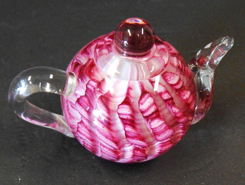 "COLLECTIBLE GLASS TEAPOT PAPER WEIGHT DYNASTY GALLERY HEIRLOOM 4 ½"" TALL"