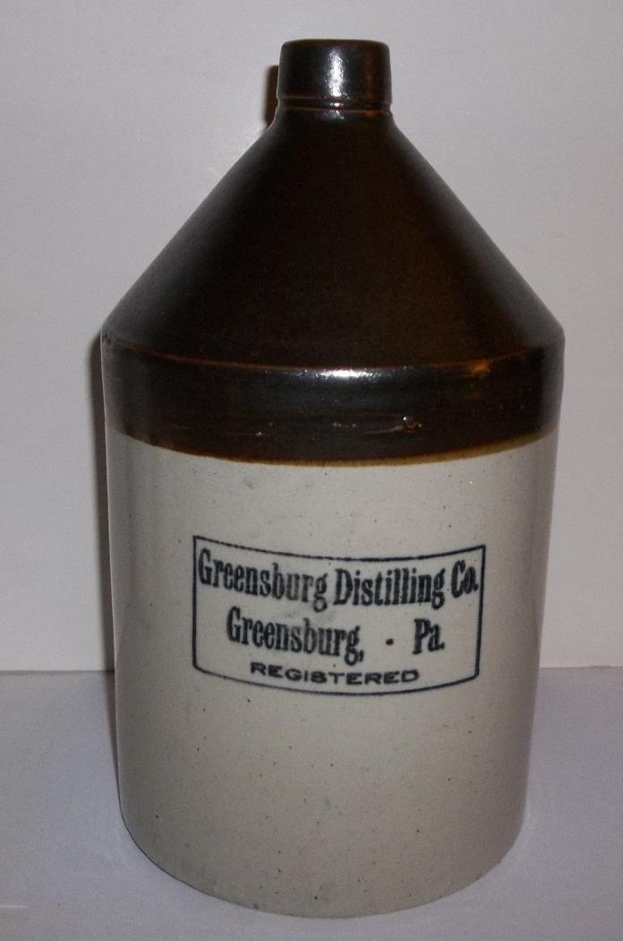 Vintage Greensburg Distilling Co. Greensburg PA. One Gallon Stoneware Jug Crock