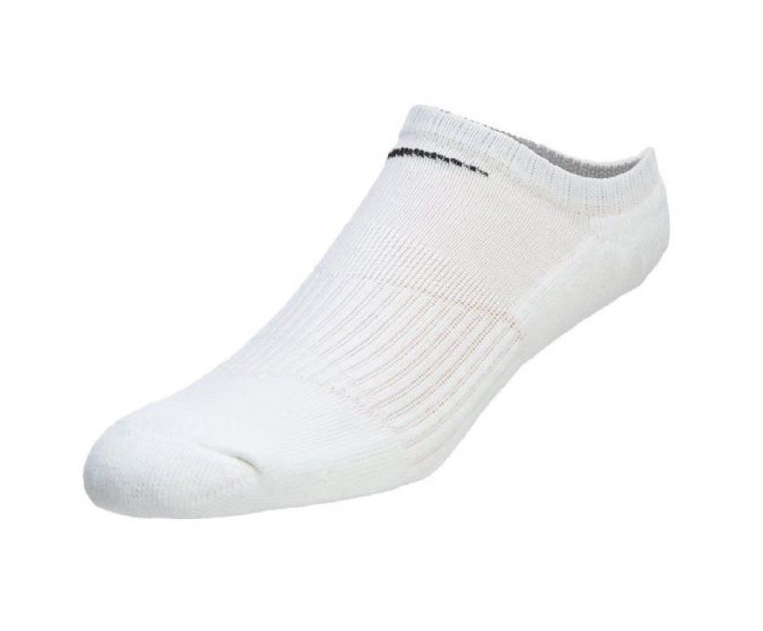 Nike No Show Performance Socks.  2-Pair.  White Large 8-12 Men/10-13 Women