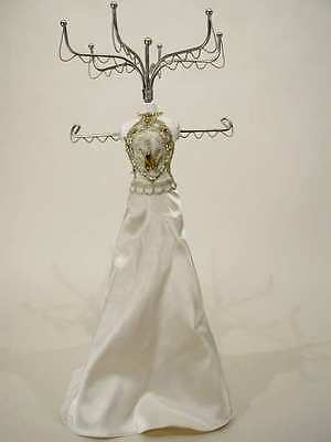 Jewelry Organizer, Ivory Satin Gown Mannequin-Gold Embroidery