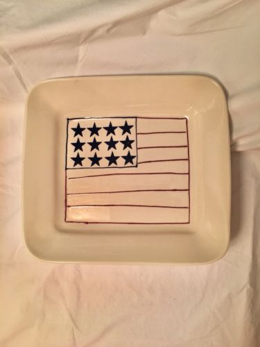 Hartstone Pottery 1990  Flag/Patriotic Ivory Casserole Serving Dish Preowned.