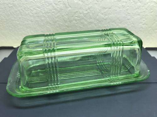 Hazel Atlas Criss Cross Vaseline Glass Butter Dish