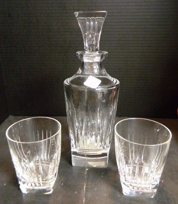 Vintage Signed Waterford Clarion Crystal Decanter + (2) Whiskey Glasses Excellen