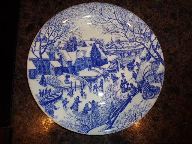 Christmas Plate Ironstone Tableware Blue White Winter Village Ice Skating Scene