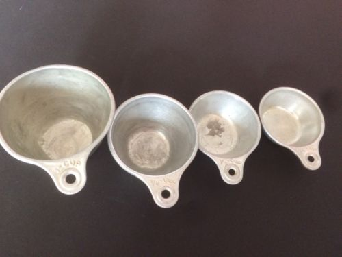 Vintage Aluminum Measuring Cups One Cup 1/2 1/3 1/4 Made In USA