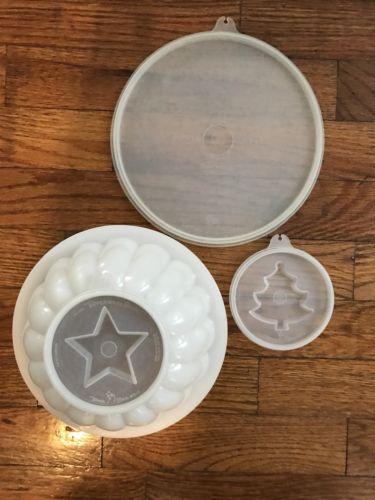 Tupperware Vintage Jello Mold Tree Star Lid Seals