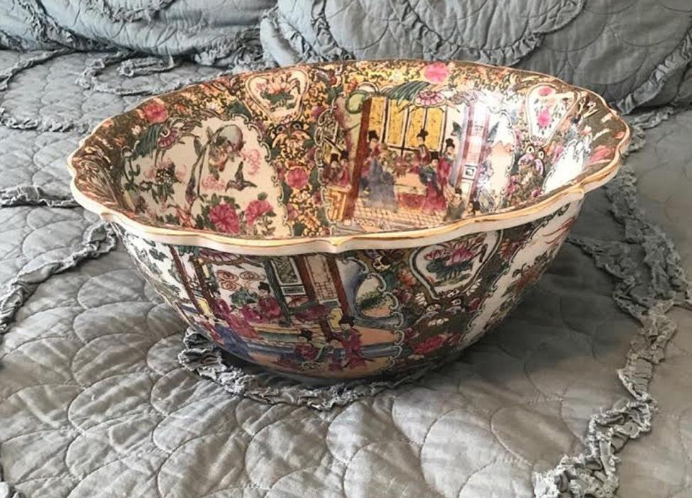 BEAUTIFUL Very Large Vintage Signed & Hand-Painted Asian Decorative Bowl