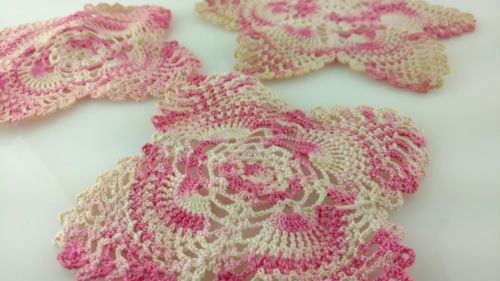 Lot of 3 Vintage Pink and White Crochet Doilies