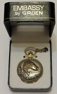 Embassy By Gruen Fishing Case Pocket Watch And Chain, NIB