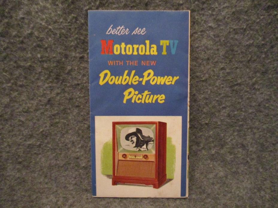 1950's Motorola TV Vintage Advertising Brochure Folded Booklet Poster