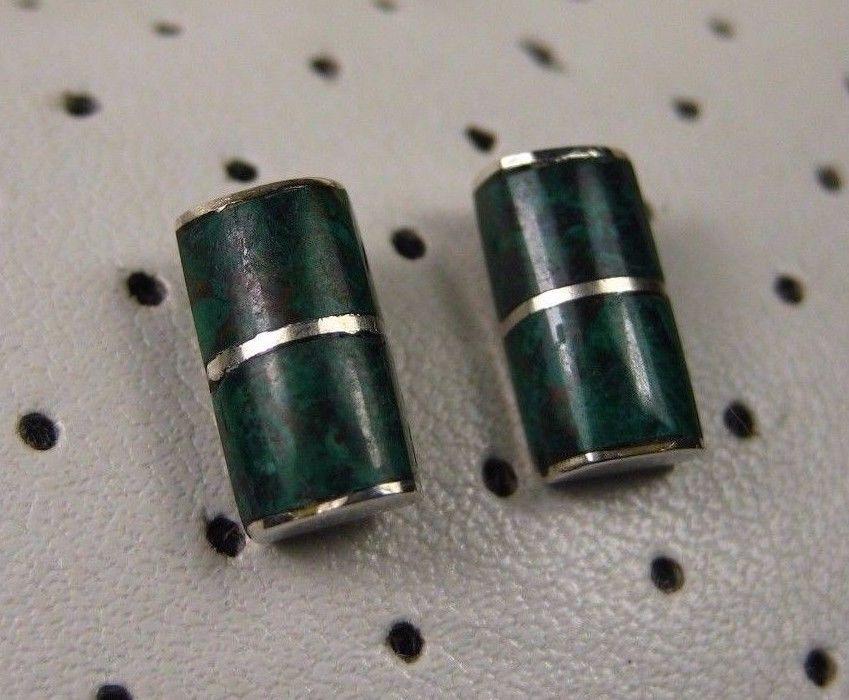 Vintage Mexico Southwestern Sterling Silver Green Mawsitsit Bar Stud Earrings 92