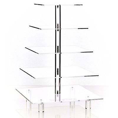 Hayley Cherie 5-Tier Square Cupcake Stand Acrylic Tiered Cake Dessert or Tower