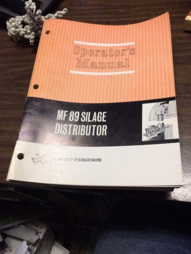 OEM Original Massey Ferguson No 89 Silage Distributor Operators Manual NICE!!