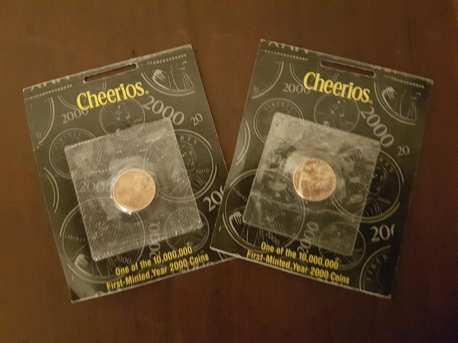 LOT OF 2 CHEERIOS FIRST MINTED YEAR 2000 PENNIES  UNOPENED
