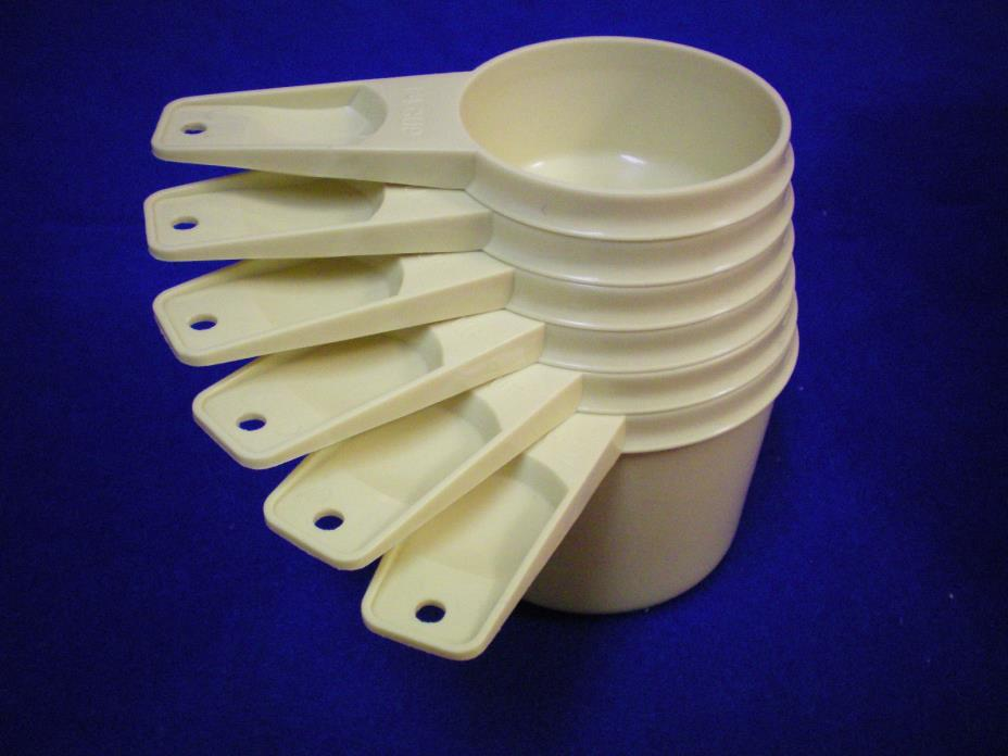 VTG Tupperware 6pc MEASURING CUP Set #761-766 ~muted yellow