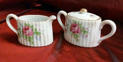 Lefton China PINK ROSE BUD & GOLD SUGAR BOWL CREAMER Hand Painted