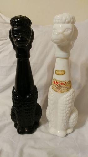 Rose gori black white italian poodle dog vintage 1971 decanter bottle SET
