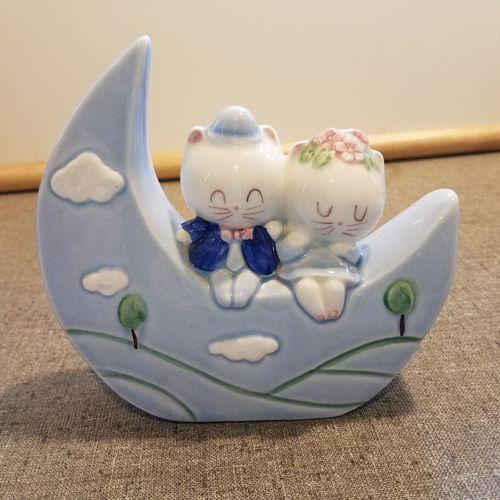 Vintage MCM Two Cats Sitting on the Moon Ceramic Bank JAPAN Nursery Decor