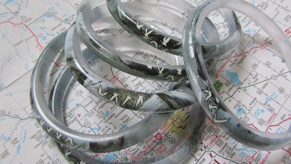Six large handcut glass grey goose bottle beads, bangles, bracelets, recycled