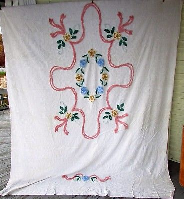 Vtg 40-50s Cotton Floral Chenille Bedspread Blanket Throw Fabric Cutter 78x102