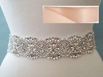 18 INCH LONG Crystal Pearl Wedding Dress Sash Belt = BLUSH RIBBON