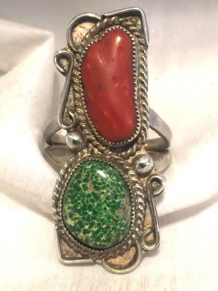 Vintage Sterling Silver Southwest Tribal Ring Turquoise Coral Size 7.75 8.6g