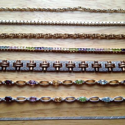 Lot 8 Sterling Flashy Fashion Bracelets Vermeil Colored Stones