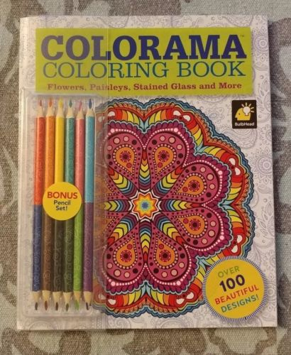 Colorama Coloring Book Flowers, Paisleys, Stained Glass and More