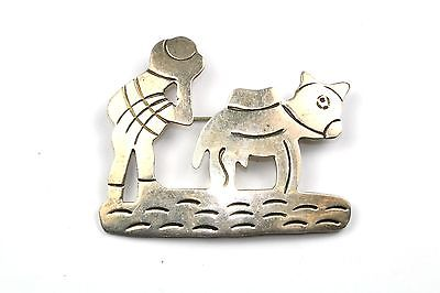 VINTAGE MEXICO MAN TAXCO DONKEY MULE PIN BROOCH 2 IN 925 STERLING BB 60