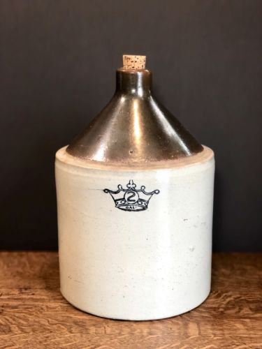 Antique 2 Gallon Crown Whiskey Jug