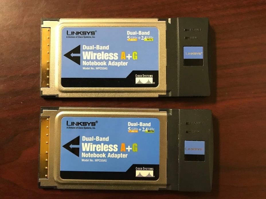 #R3S3C Lot of 2 Lynksys  WPC55AG  Dual-Band Wireless A+G Notebook Adapters