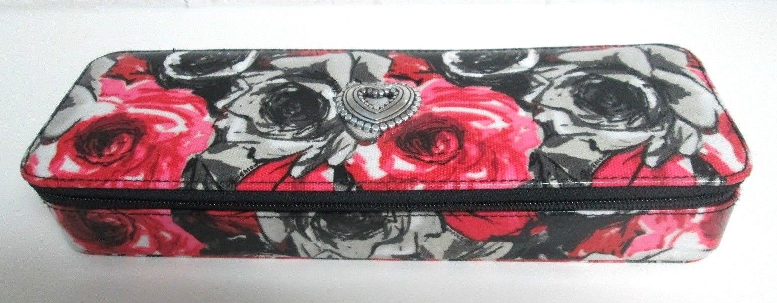 Brighton MADISON Zip Around Floral Pink Black Roses Travel Home Jewelry Case