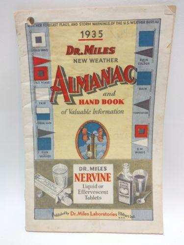 1935 Dr Miles New Weather Almanac to Battleview North Dakota