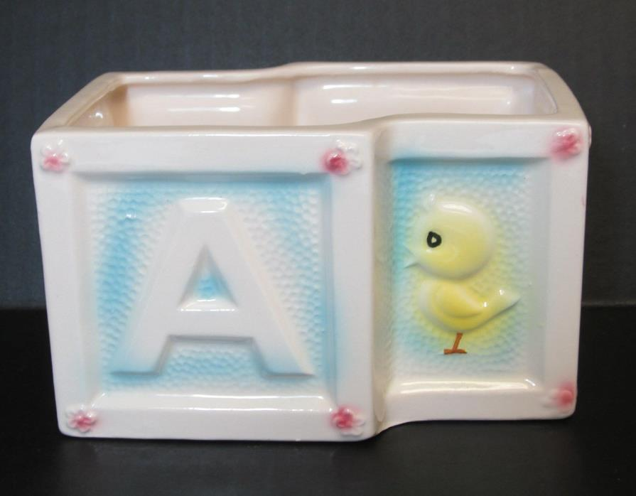 Vintage ABC BLOCKS PLANTER Giftwares NANCY PEW Japan BABY Nursery DECOR #7913