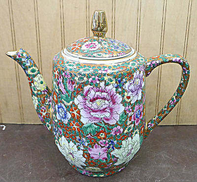Hand Painted Thousand Flower Design Porcelain Teapot Jar Vase