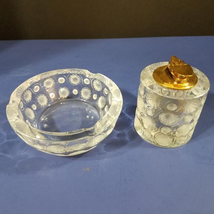 Vintage Signed Lalique France Crystal Tokoyo Smoking Set - Lighter and Ashtray