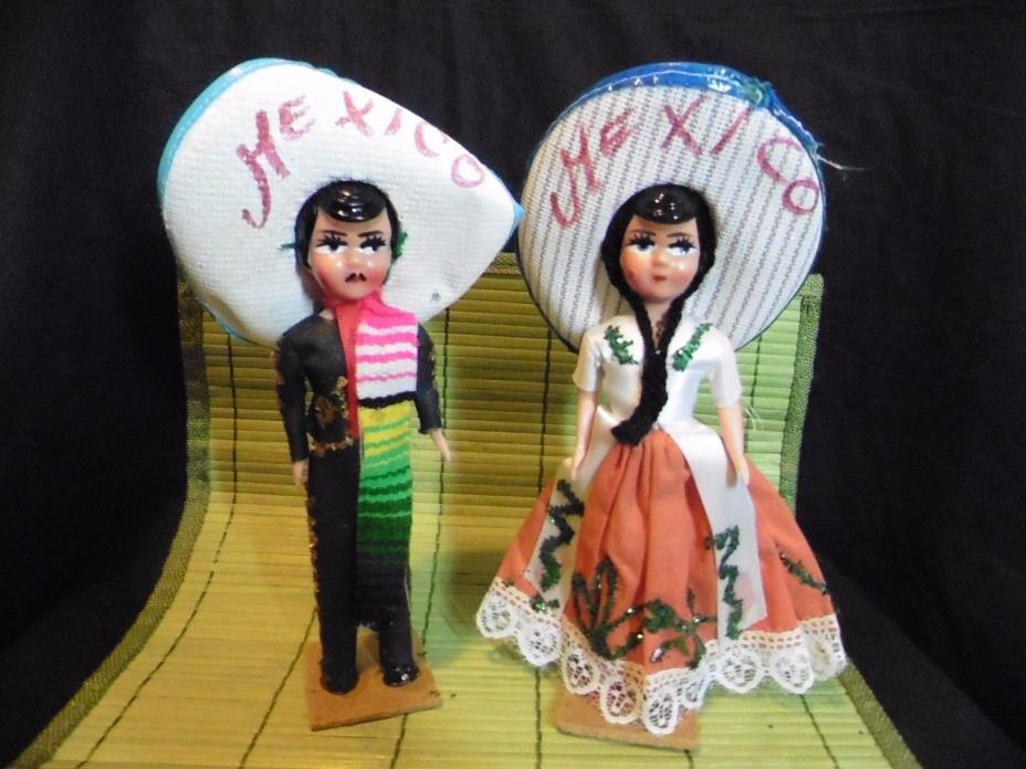 Vintage Set (2) Souvenir Dolls Mexico Man & Woman 8.5