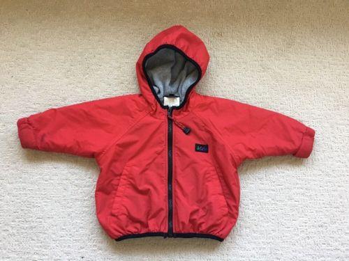 REI Red & Gray Fleece Lined Jacket Hooded Coat Sz 18m Warm Winter Snow Ski Sled