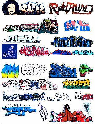 HO COLORFUL GRAFFITI DECALS ASSORTMENT 62  FREE SHIPPING DOMESTIC