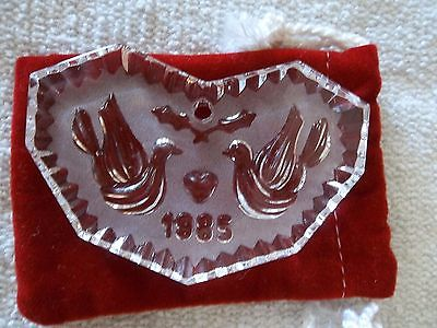 Waterford Crystal Two Turtle Doves Ornament 1985 12 Days Of Christmas