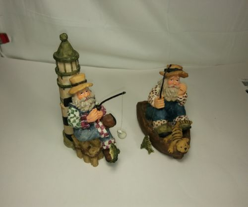 Vintage Ole Saltz of the Sea Figurines Old Man Fishing Home Decoration