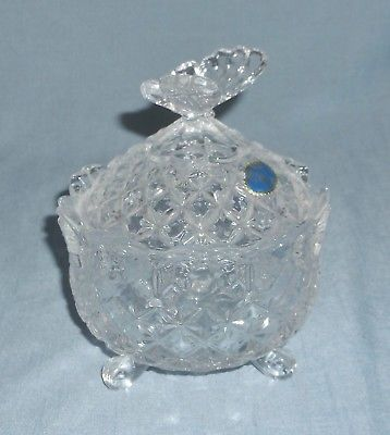 Vintage Bohemia Czech Republic Lead Crystal Candy Dish Butterfly Lid 3 Footed