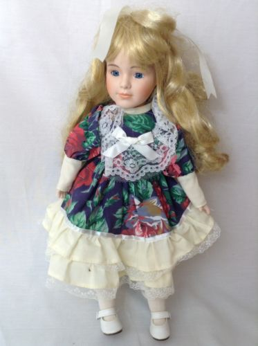 Collectible, Porcelain baby doll, Multi color, floral dress, Used