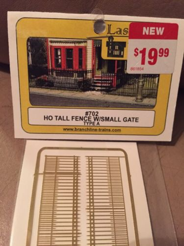 NIB HO Branchline Laser-Art #702 Photo Etched Brass Tall Fence w/ Small Gates