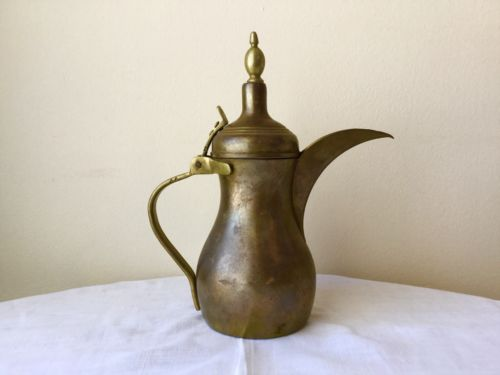 Antique Pakistan Brass/Copper Coffee Tea Pot Signed